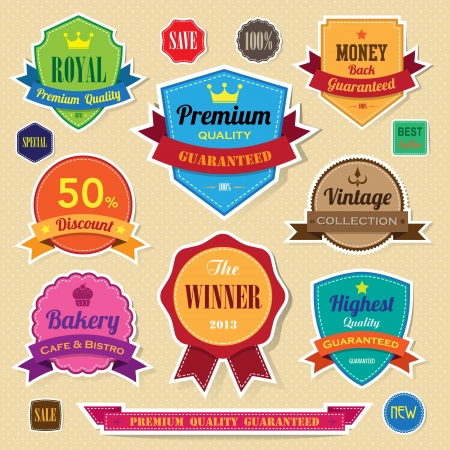 Set of retro  vintage sticker badges and labels. Vector
