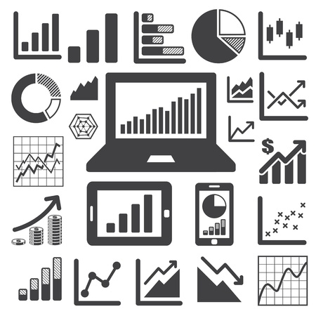 Business Graph icon set.Illustration  Vector