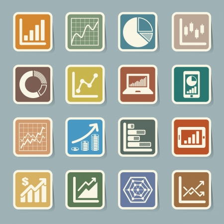 Business Graph sticker icon set. Stock Vector - 19665569