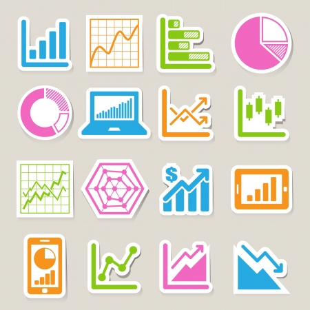 Business Graph sticker icon set. Stock Vector - 19665567