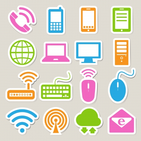 Icon set of mobile devices , computer and network connections ,Illustration Stock Vector - 19835151