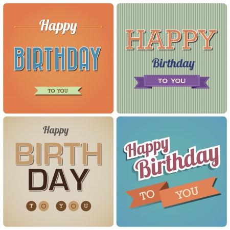 auguri di buon compleanno: Vintage Buon Compleanno Card.Illustration Vettoriali