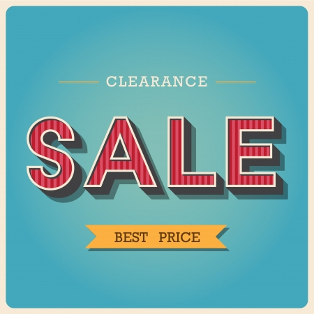 3 dimensional: Clearance sale Retro type font ,Illustration