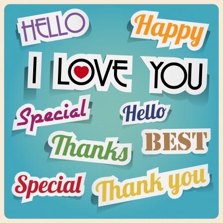 hello heart: Retro vintage style speech sticker Illustration Illustration