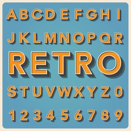 Retro type font, vintage typography ,Illustration