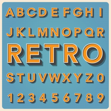 alphabet kids: Retro type font, vintage typography ,Illustration