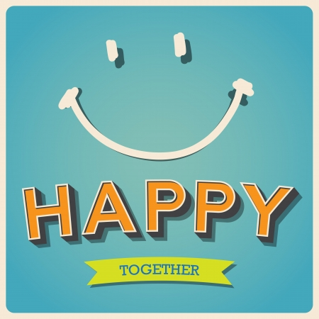 smile face: Happy and smile face retro poster.Illustration