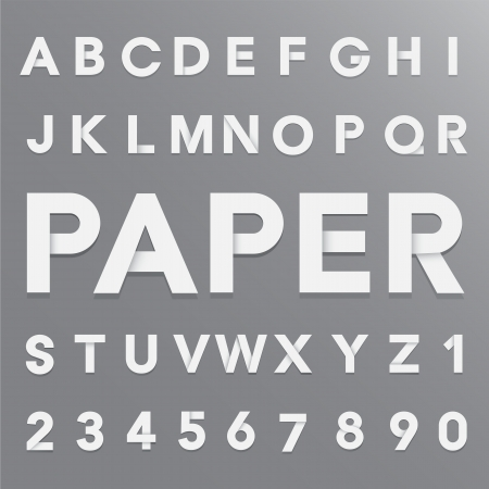 White paper alphabet with shadow. Illustration
