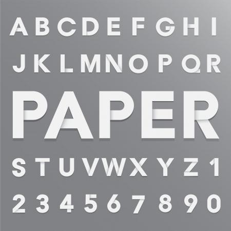 alphabet wallpaper: White paper alphabet with shadow. Illustration
