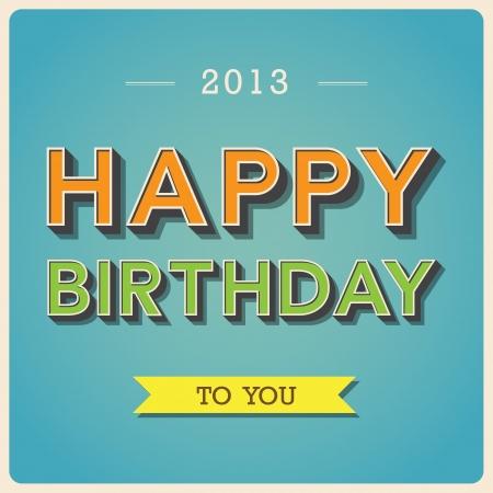 Happy Birthday retro poster.Illustration EPS10