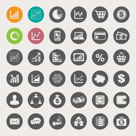 step: Business and finance icon set.