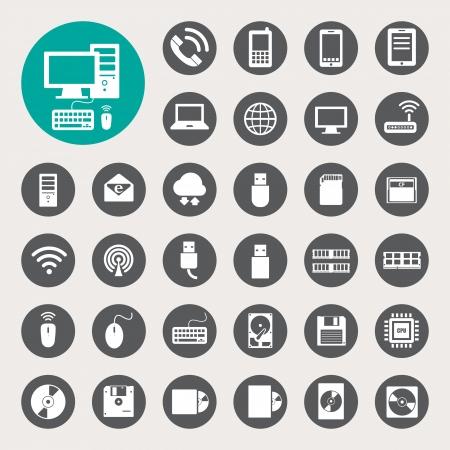 carnero: Los dispositivos móviles, computadoras y conexiones de red iconos conjunto.