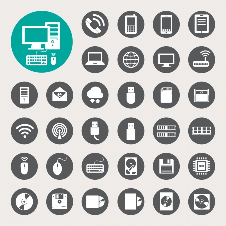 disk: Mobile devices , computer and network connections icons set.  Illustration