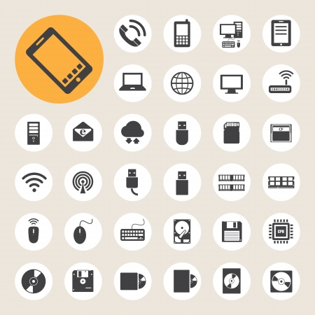 envelop: Mobile devices , computer and network connections icons set. Illustration eps 10 Illustration