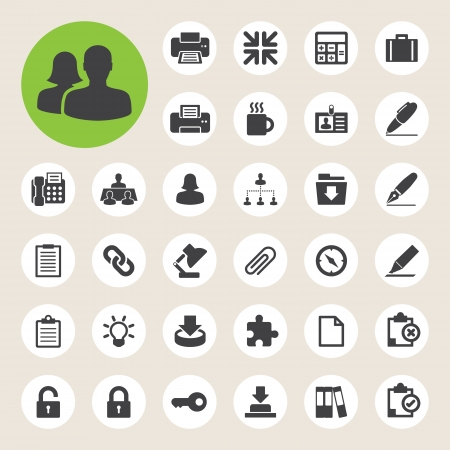 Office icons set. Illustration eps 10 Vector