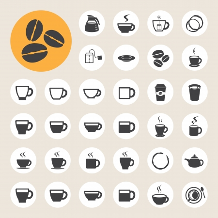 arabica: Coffee cup and Tea cup icon set.Illustration eps10