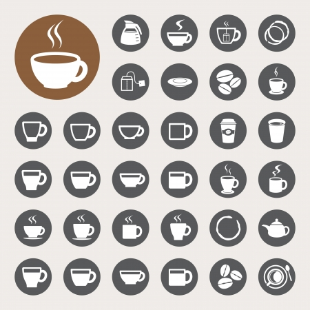 coffee beans background: Coffee cup and Tea cup icon set.Illustration eps10