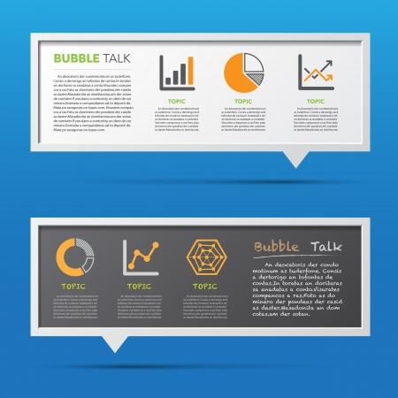 Business icon and 3D bubble talk blackboard. Illustrator Illustration