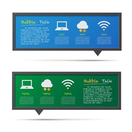 Network icon and 3D bubble talk blackboard. Illustrator
