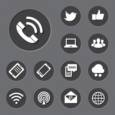 envelop: Mobile devices and network  icons set. Illustration