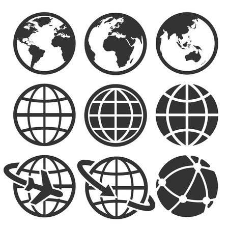 global: Earth icons set. Credit