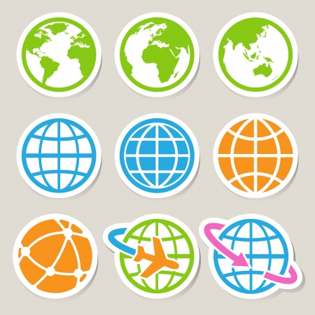 asia globe: Earth icons set