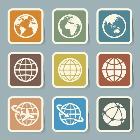 globe arrow: Earth icons set.
