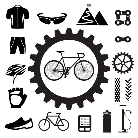 mountain bicycle: Bicycle icons set,illustration  Illustration