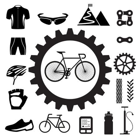 fietsketting: Fiets iconen set, illustratie Stock Illustratie