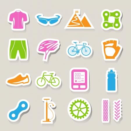 biking glove: Bicycle icons set,illustration
