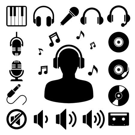 audifonos: Icono de la m�sica conjunto. Ilustraci�n