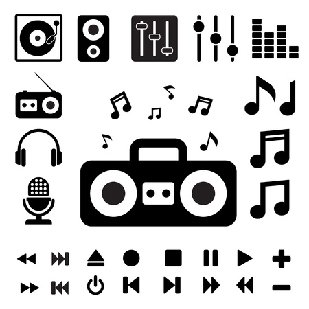 Music icon set. Illustration   Vector