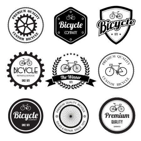 gears background: Set of  bicycle retro vintage badges and labels.eps10  Illustration