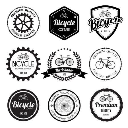 fiets: Set van fiets retro vintage badges en labels.eps10 Stock Illustratie