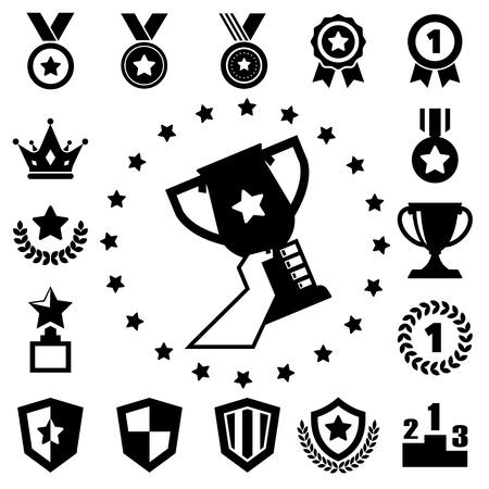 primer lugar: trofeos y premios iconos conjunto Vectores