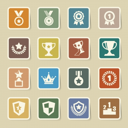 Trophy and awards icons set.Illustration  Vector