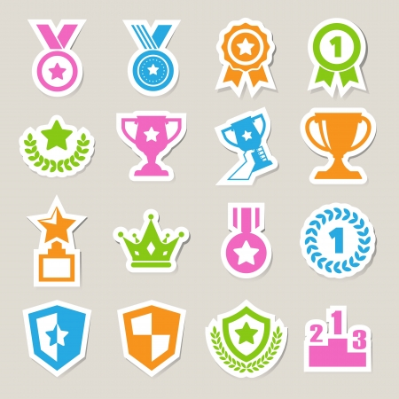 trophy cup: Trophy and awards icons set.Illustration