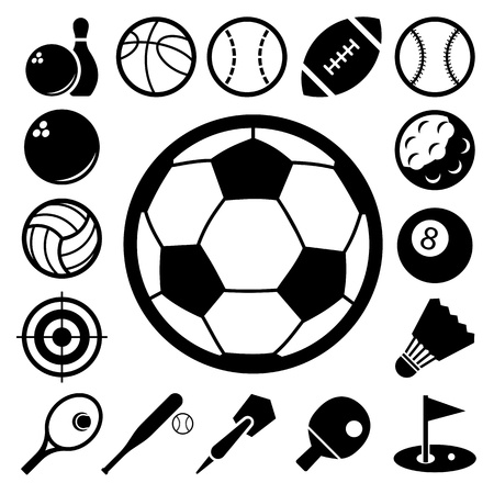 rugby ball: Sports Icons set.Illustration