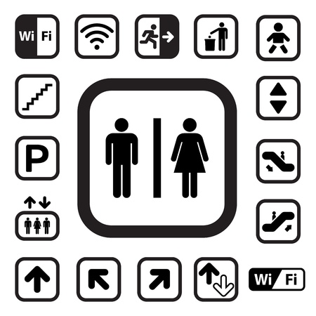 public restroom: Public icons set.Illustration