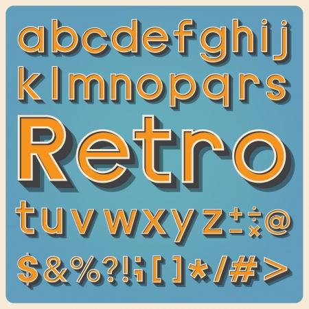 Retro type font, vintage typography ,Illustration  Vector