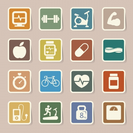 Fitness and Health icons.Illustration  Vector