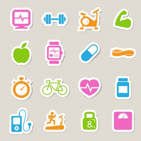 Fitness and Health icons.Illustration