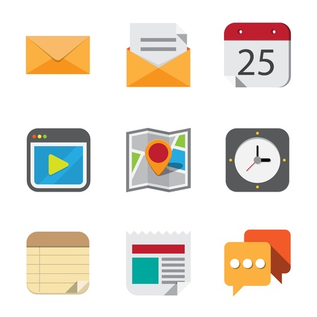 Business and interface flat icons set,Illustration Stock Vector - 21423370