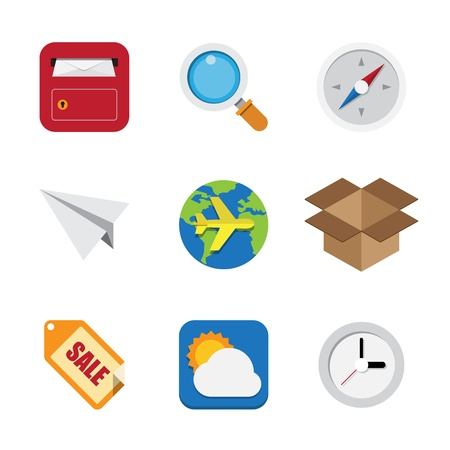 Business and interface flat icons set Vector