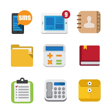 phonebook: Business and interface flat icons set