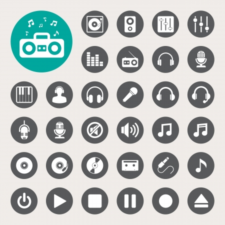 Music icon set.  Illustration