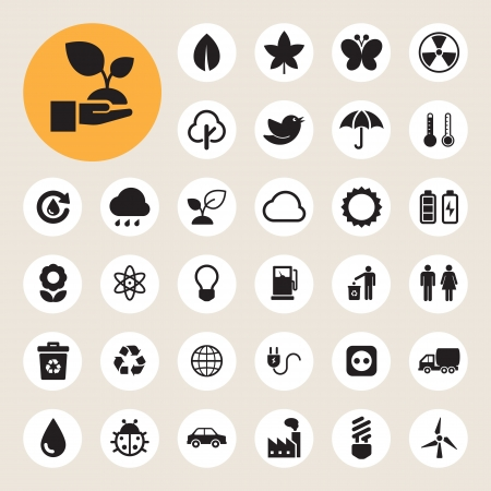 Eco energy icons set.Illustration eps10 Vector
