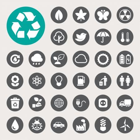nuclear symbol icon: Eco energy icons set.