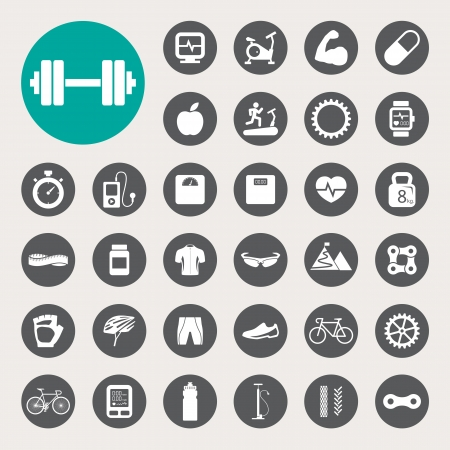 fitness: Iconos de los deportes fijados.