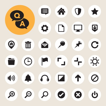 Computer menu icons set.  Vector